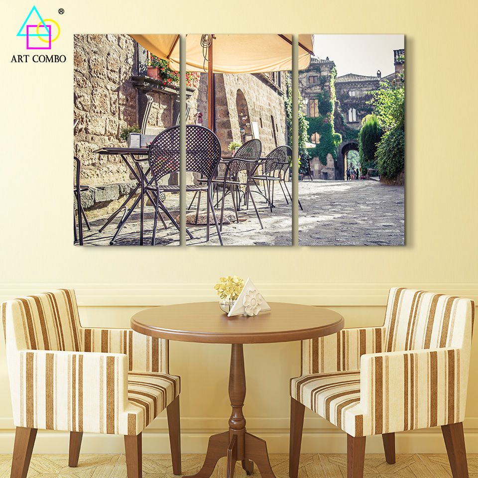 3 Panels Modern Art Scenery Of Corner Canvas Painting Wall Paintings ...