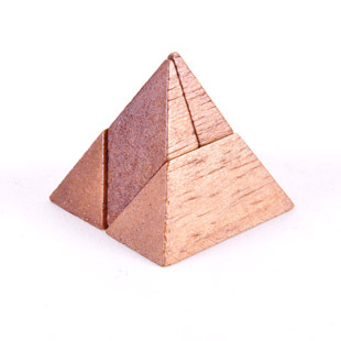 Kids learning wooden toys IQ brain teaser games 3D 4 pcs Pyramid cube puzzle ...