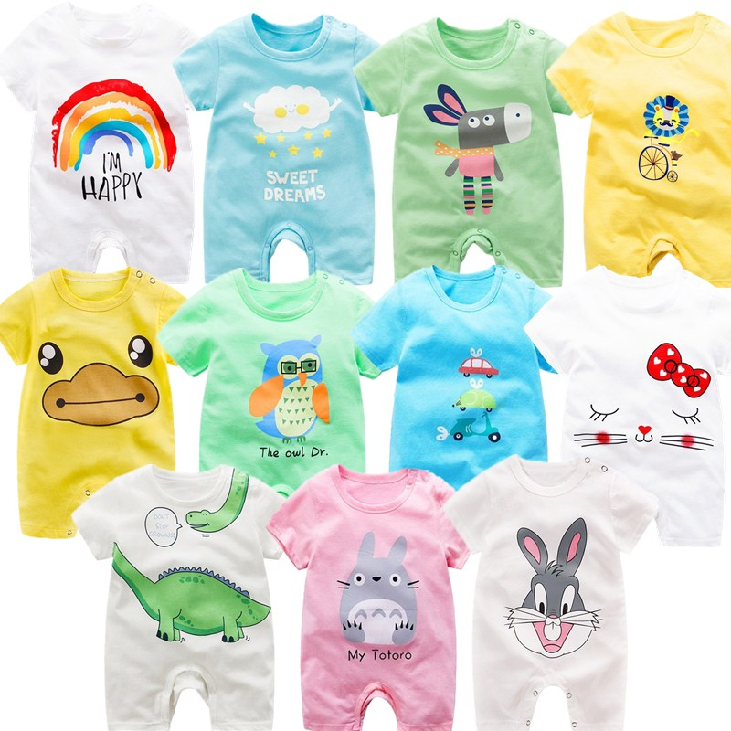 100% Cotton   Rompers   Newborn Baby Short Sleeve Jumpsuit 2019 Summer O-Neck Cotton Baby Boy Girl Clothes Toddler Infant   Rompers