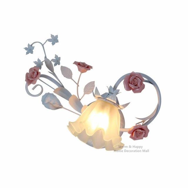 US $89.24 25% di SCONTO|Monder Paese Lampade Da Parete Fiore Floreale Rose  Style LED Applique da parete per Soggiorno camera Da Letto Applique Casa ...