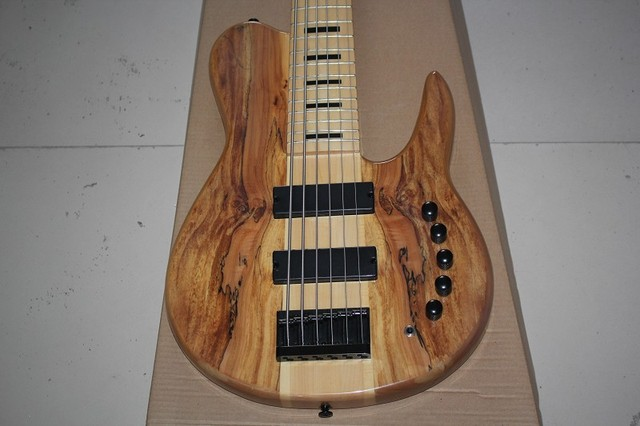 one-piece set maple neck through alder body Imperial 6 Strings electric bass guitar with 9V Active Pickups