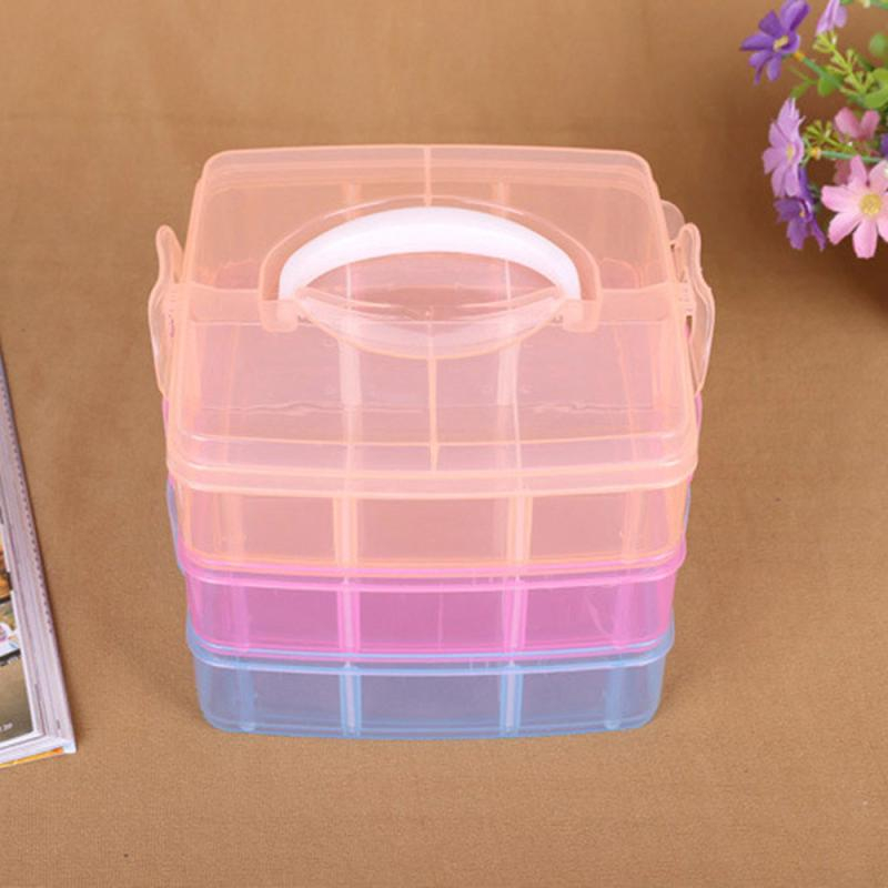 2018 TENSKE New Clear Plastic 3-layers Jewelry Bead detachable DIY storage Box Container Organizer Case Craft Tool C0125