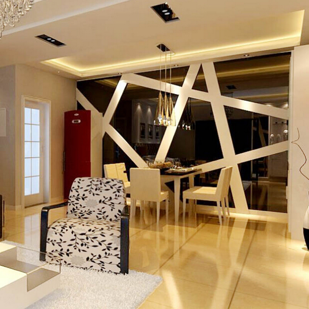 Aliexpress Buy Hot Sell 3D Three Dimensional Mirror Wall Stickers Ice Lattice Puzzle For Living Room Entrance Bedroom Decoration From