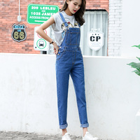 S L 2018 rompers womens jumpsuit loose Long Trousers blue Denim Pants jeans womens overalls for womens (B1285)