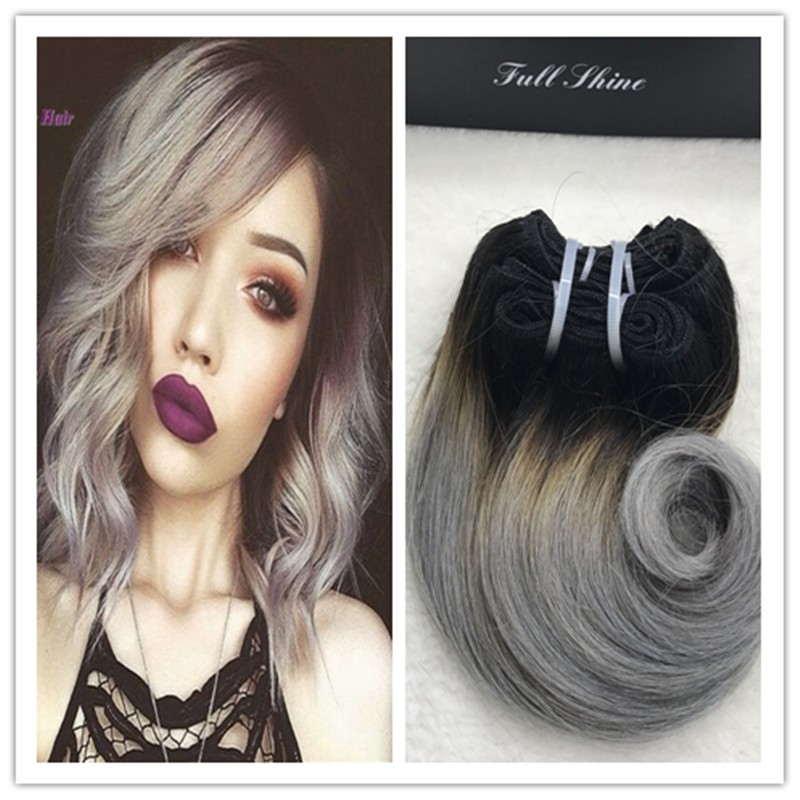 Full Shine Brazilian Short Weave Hair Extensions Remy Hair 1b Silver Grey Ombre Body Wave Short Hair Weft Ombre Cabello Humano In Hair Weaves From Beauty Health
