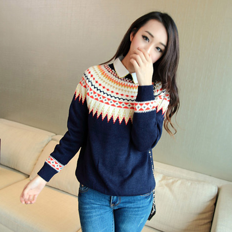 2017 new winter sweaters O neck full sleeve preppy prints women clothing loose hot sale knitted pullovers 7503