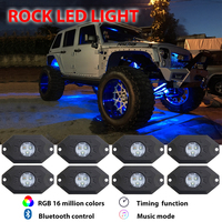 Led Rock Lights 8Pcs With Canbus And Remote Control For 4X4 Off Road Jeep Wrangler Jk
