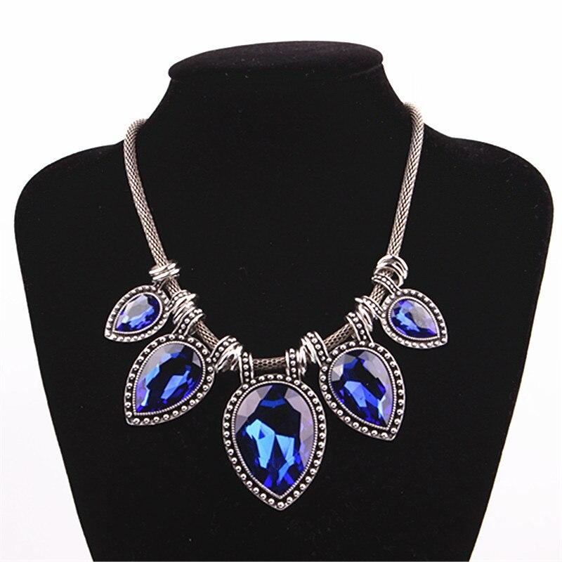 Elegant Women Enamel Crystal Flower Pendant Choker Bib Necklace Earring Set Gift