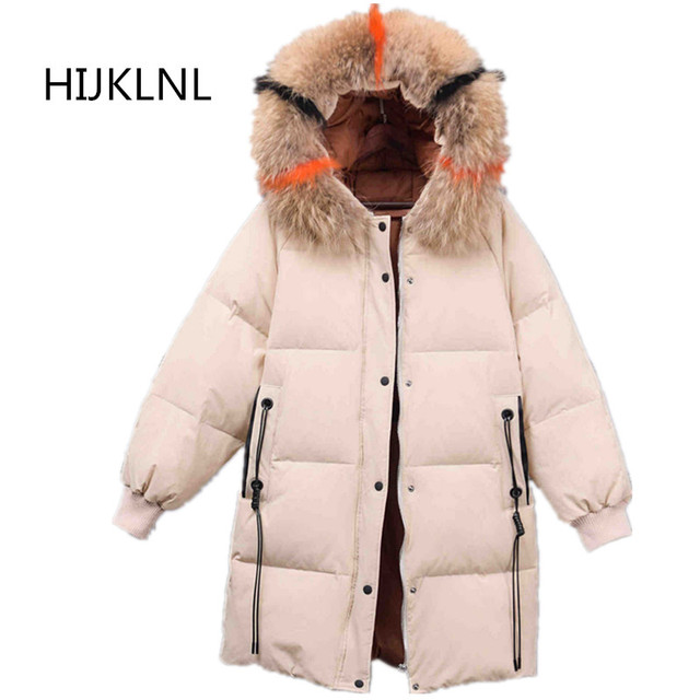 f4719cba2 US $79.19 40% OFF|2019 New Women's Winter Down Jacket In The Long Paragraph  Loose Large Size Real Fur Collar Hooded Outer Thick Warm Coat Tq045-in ...