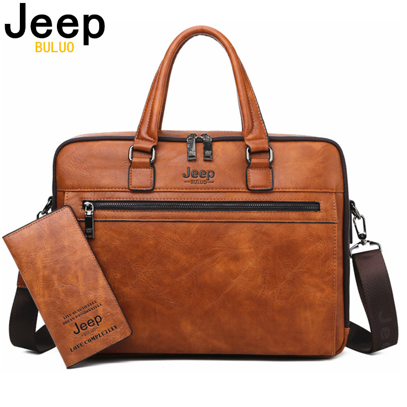 JEEP BULUO Brand Men Business Briefcase Bags For 14 Inch Laptop A4 File 2019 New Style Shoulder Travel Bag For Man High Quality(China)