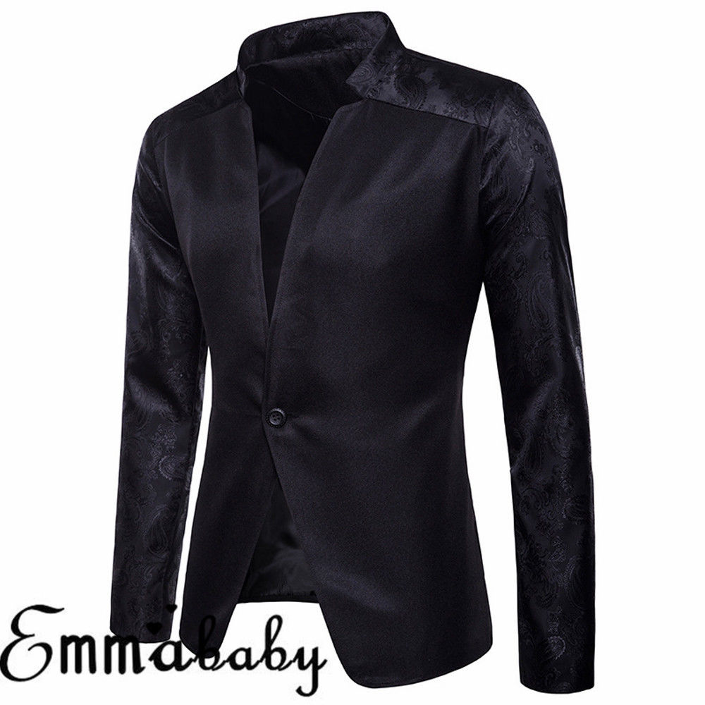 Men's Casual Slim Fit One Button Suit Blazer Business Work Coat Long Sleeve Solid Notched Jacket Outwear