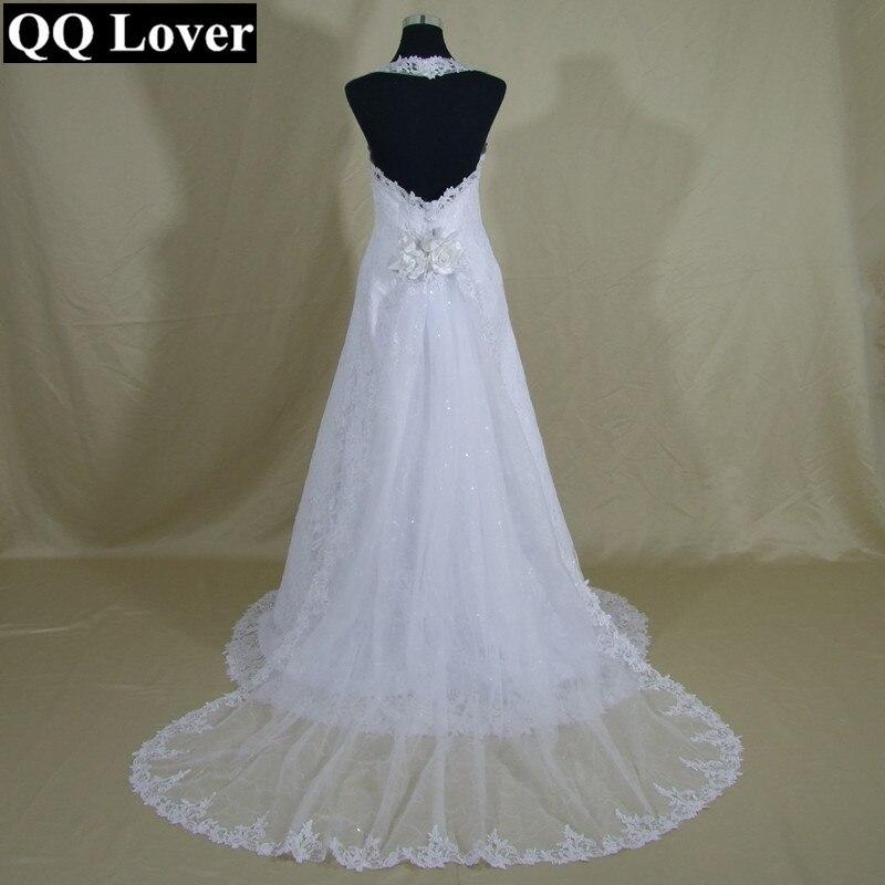 QQ Lover 2019 Elegant Halter Lace Wedding Dress With Detachable Train Beautiful Bridal Gown Vestido De