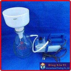 1000ml kolba ssąca + 120mm lejek buchnera + pompa próżniowa  zestaw filtracyjny lejek buchnera  szkło borokrzemianowe chemia laboratoryjna