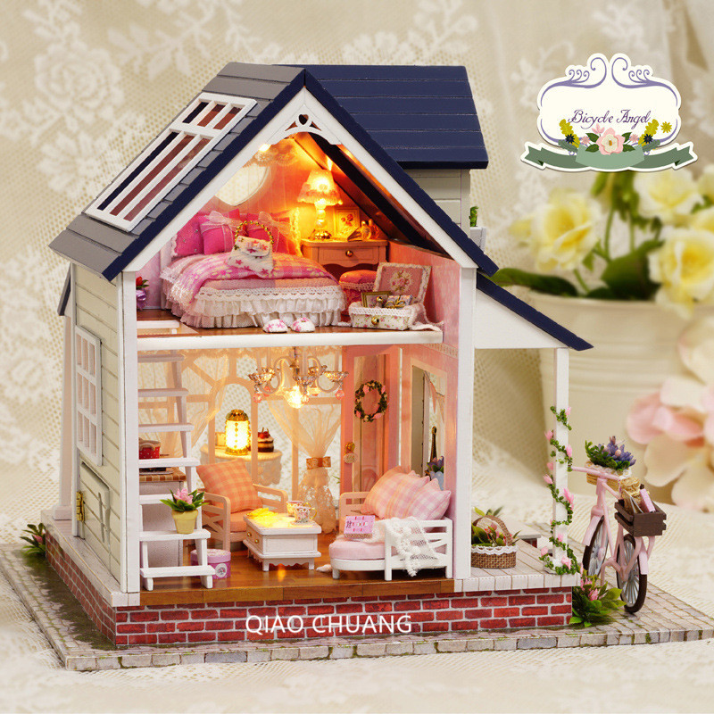 Bike Angel Diy Production Wood House Educational Toys Refinement House And Home Furnishings Romance Creative Birthday Gift L482 bricolage model diy production nuts squirrel wood house refinement with led light house and home furnishings birthday gift l481