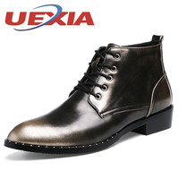 British Style Mens Ankle Boots Patent Leather High Top Men Dress Shoes Autumn Winter Formal Boots