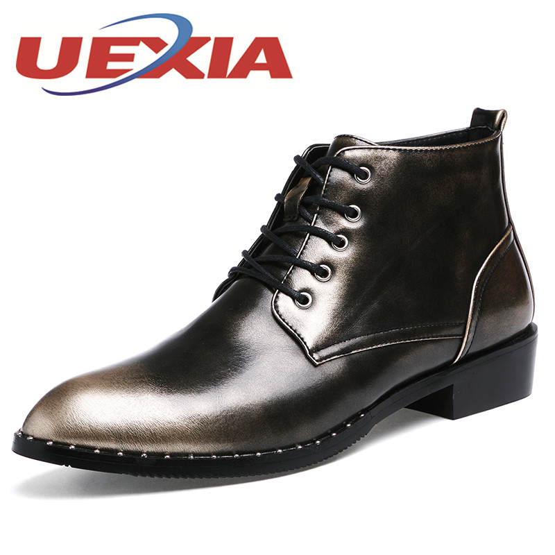 style mens ankle boots patent leather high top