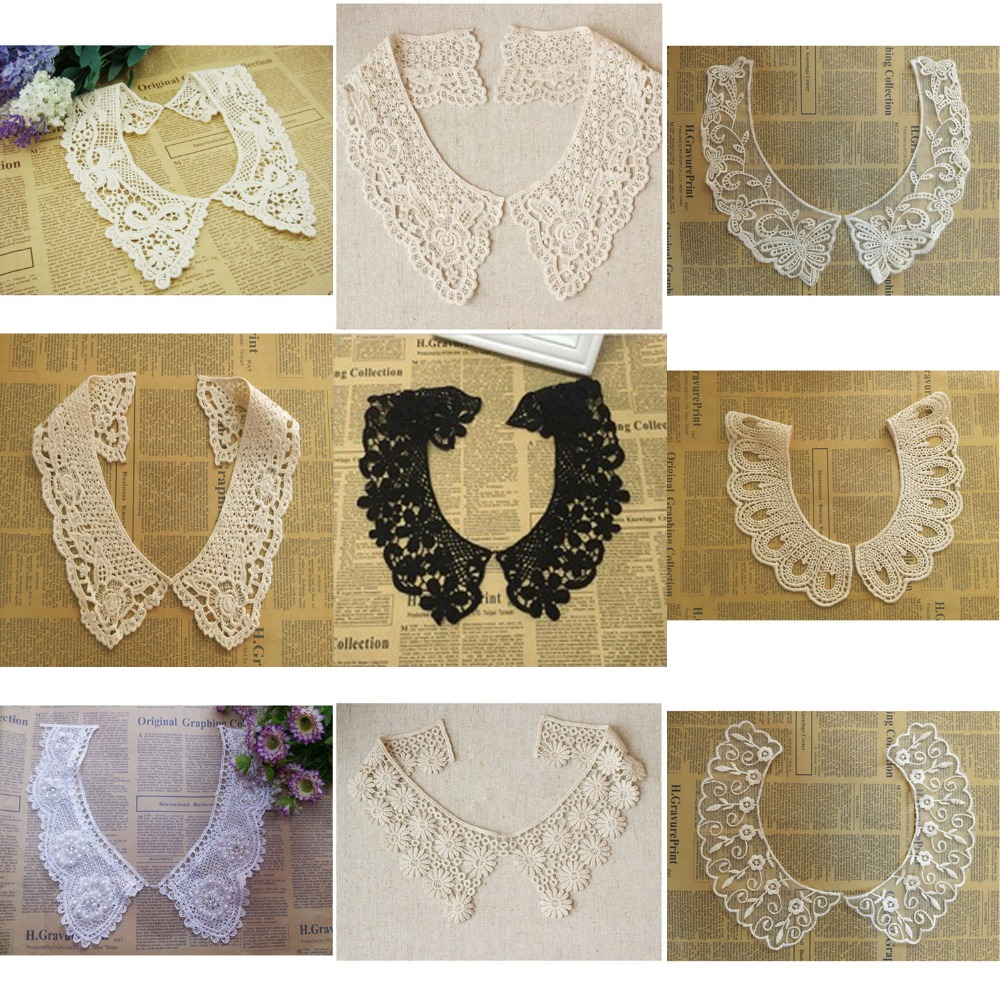 1 Pair Embroidered White Beige Color Cotton Lace Neckline Collar Applique Scrapbooking Sewing Accessories