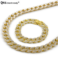 Hip hop Mens Miami Cuban Link Chain 2 Rows Rhinestone Jewelry sets Fully Iced Out HipHop 15mm 30 Men Chain Necklace 8 Bracelet