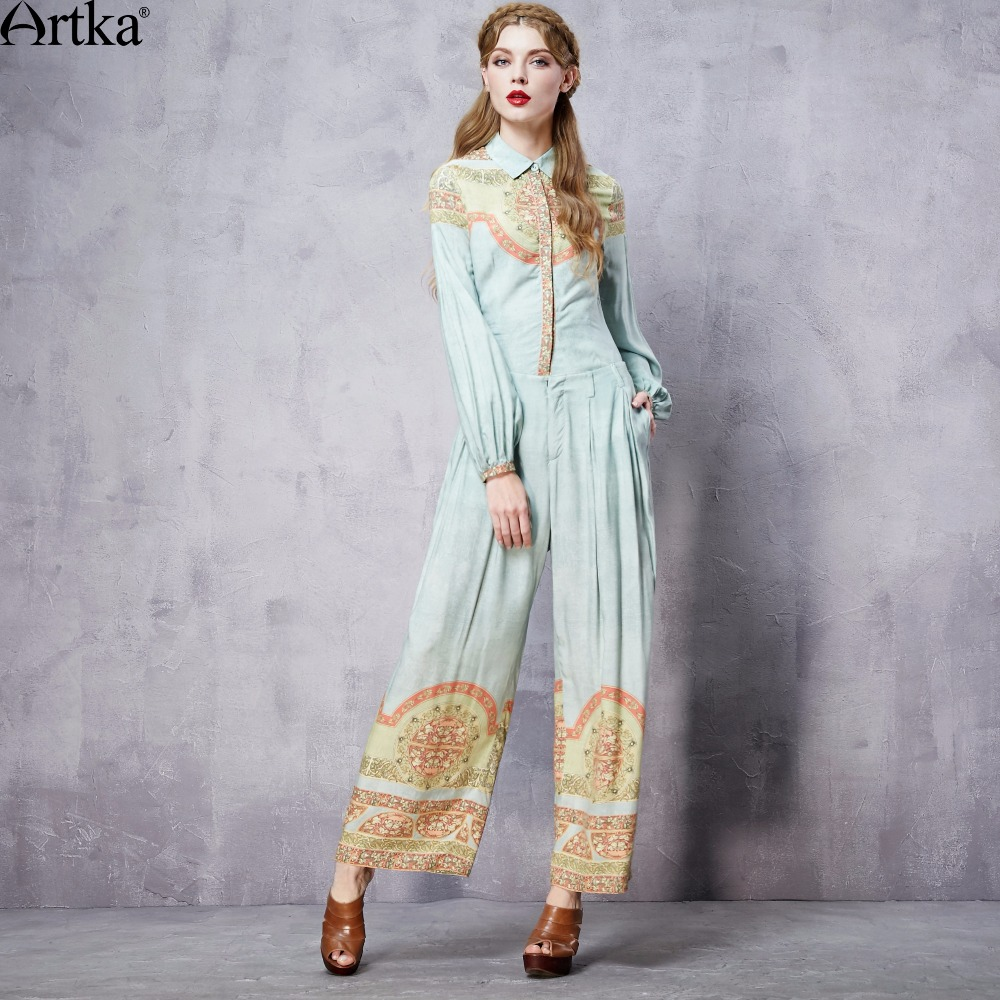 ARTKA Women s Summer New Printed Full Length Wide Leg Pants Fashion Comfy Casual Pants With
