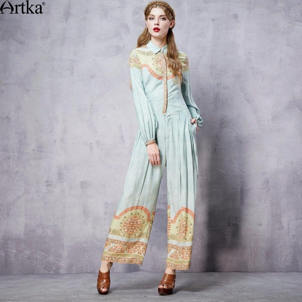 ARTKA Women's Summer New Printed Full Length Wide Leg Pants Fashion Comfy Casual Pants With Pockets KA10660C