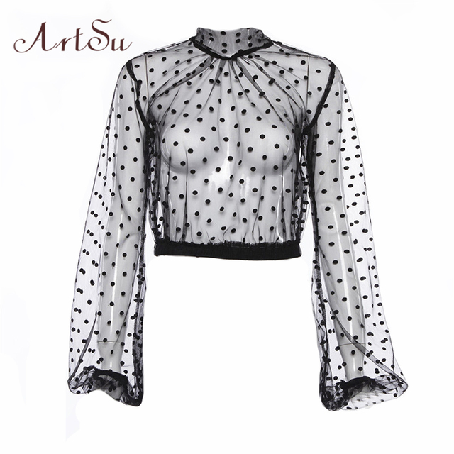 01830592a7a ArtSu Polka Dot Mesh Top Black Tshirt Long Sleeve Transparent Top Crop Sexy Tee  Shirt Femme Stand Collar Casual Tee ASTS20627