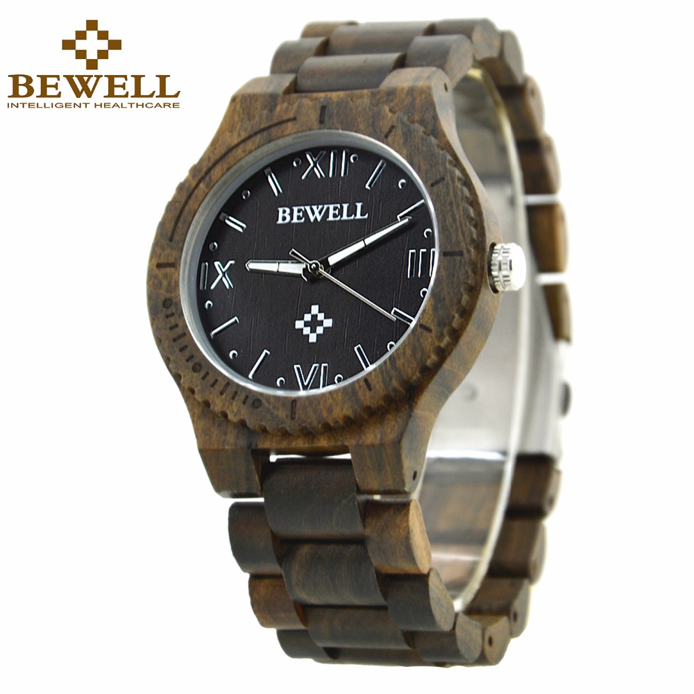 BEWELL Wooden Quartz Watches for Men Roman Numeral Time Luminous Clock Hands Crafted Luxury Wrist Watch Reloj Hombre 065A silicone strap roman numeral quartz watch