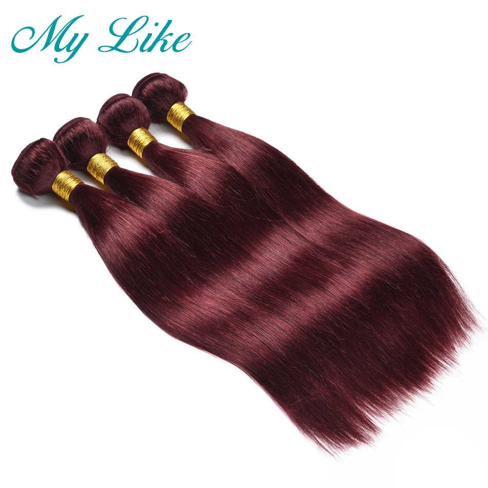 My Like малазийские прямые волосы плетение 99j Натуральные Рыжие волосы пучки не-remy наращивание волос 3 пучка Бургундия волосы ткачество пучки