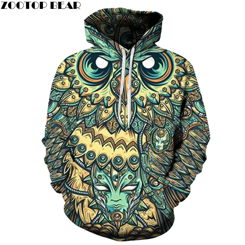 God owl Of Dreams 3D Hoodies Men Brand Sweatshirts 6XL Quality Pullovers Hooded Jakcets Boy Tracksuits Casual Fashion Male Coats