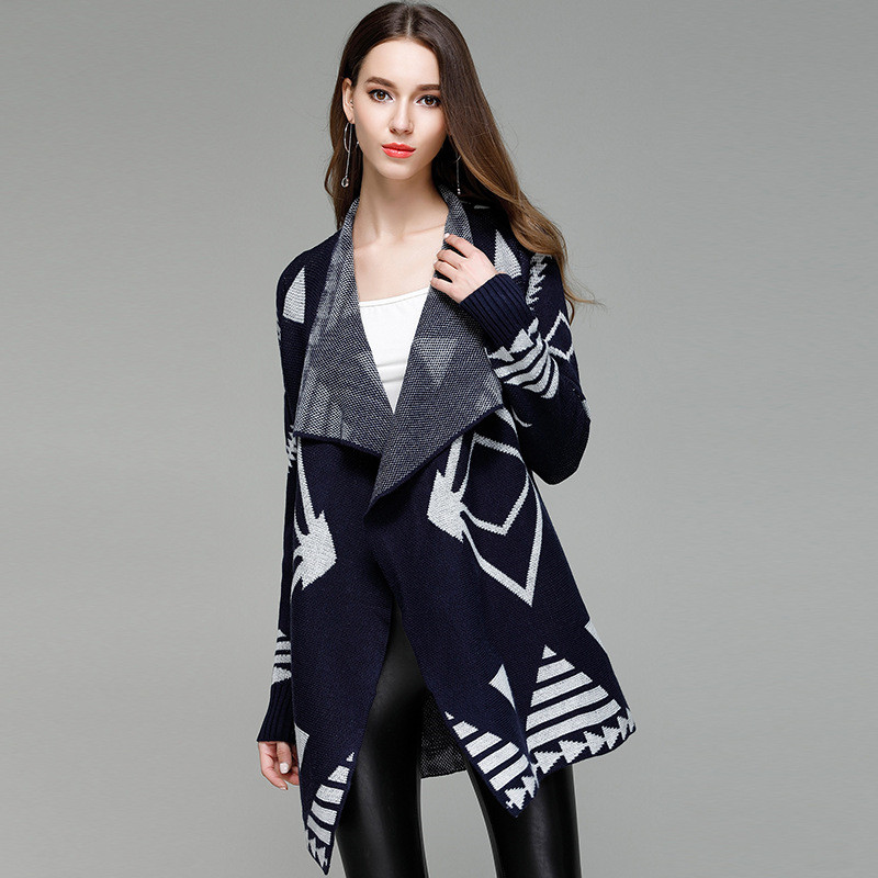 Aztec Style Knitting Autumn Winter Fashion Wrap Cardigan for Women Elegant Female Long Lace Up Bohemian Knitted Sweater Coat