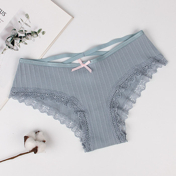 Autumn Briefs Women Cotton Lace Seamless Panties Tangas Underwear Women Sexy Bowknot Thongs and g strings SIX Colors 3