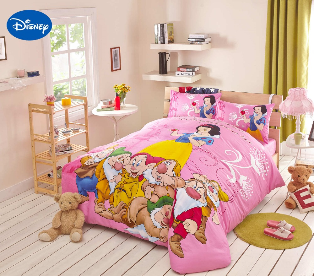 Pink Disney Snow White and the 7 Dwarfs Printed Bedding Set for Girls Home Decor Cotton Bed Duvet Cover Single Twin Queen KingPink Disney Snow White and the 7 Dwarfs Printed Bedding Set for Girls Home Decor Cotton Bed Duvet Cover Single Twin Queen King