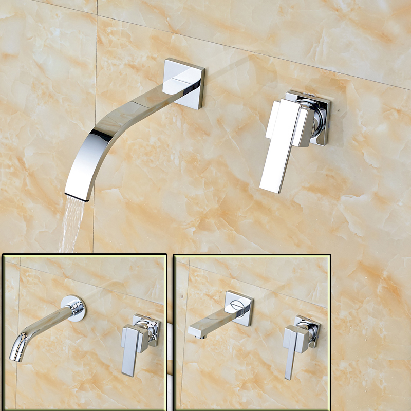 Best Quality Brass Chrome Wall Mount Basin Faucet Single Handle Bathroom Two Holes Basin Mixer Taps Free Shipping free shipping of professional 75 72 m22 carbide tipped wall hole saw for air condtiional holes opening on brick concrete wall