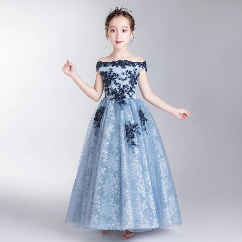 2018 Summer New Children Girls Evening Party Model Show Shoulderless Princess Lace Long Dress Kids Baby Birthday Wedding Dress 2018 summer new kids baby white color princess lace flowers dress for birthday party children girls wedding evening party dress