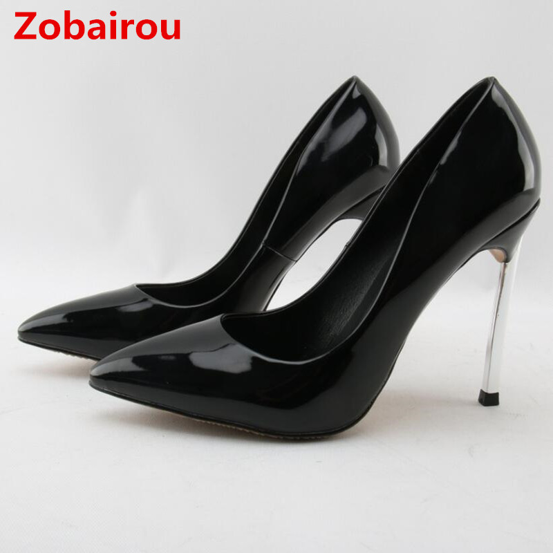Zobairou zapatos mujer wedding shoes bride black patent leather 10CM 12 CM sexy extreme high heels runway shoes woman stiletto