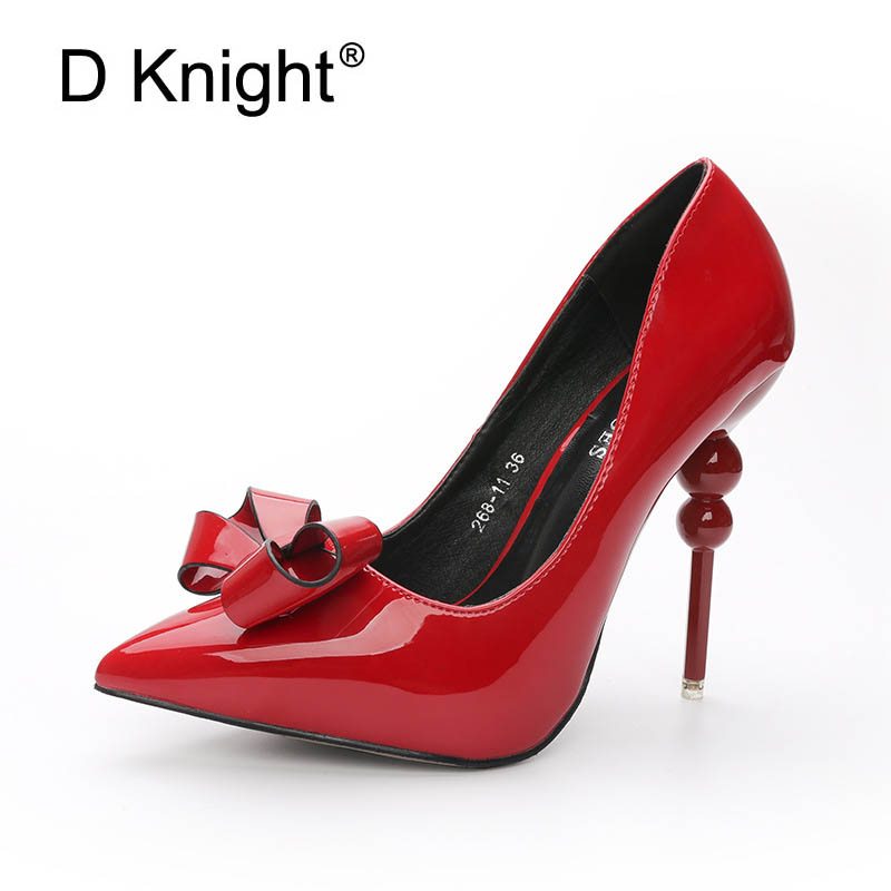 New Fashion Bow Patent Leather Women Pumps Sexy Pointed Toe High Heels Women Shoes Ladies Elegant Evening Party Wedding Shoes new spring summer women pumps fashion pointed toe high heels shoes woman party wedding ladies shoes leopard pu leather