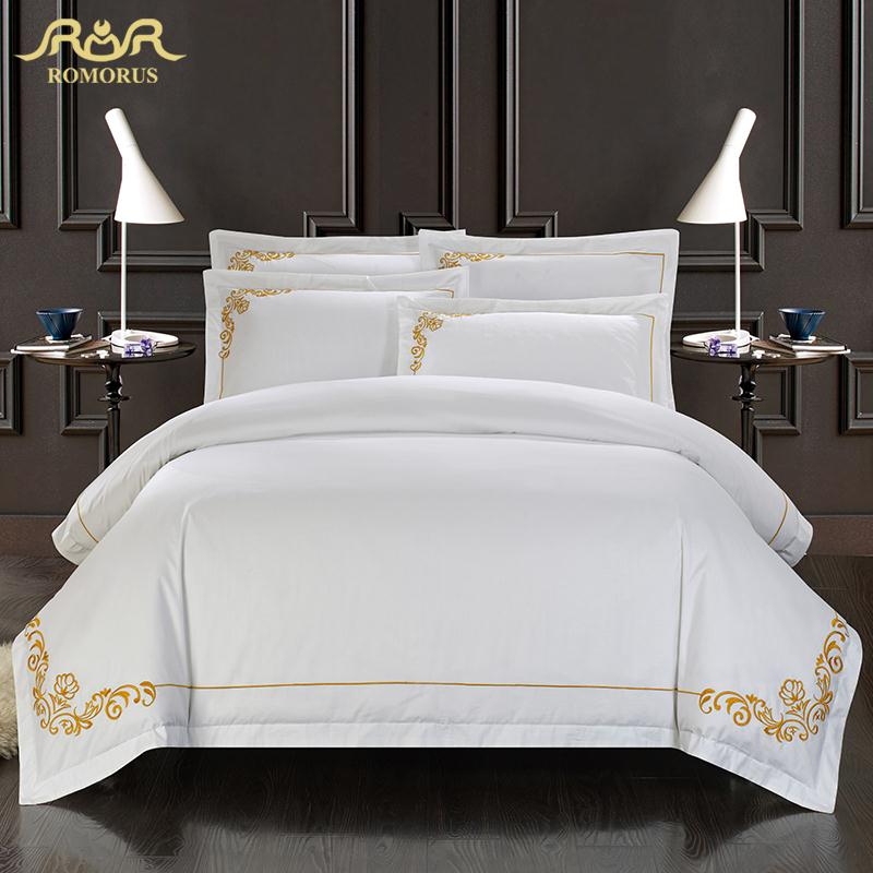 romorus 100 cotton tribute silk bedding set white embroidered hotel duvet cover set king queen size with bed sheet pillowcases