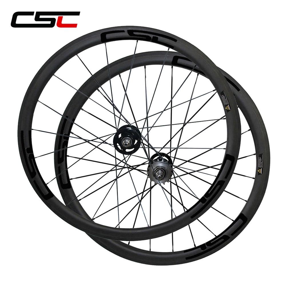 CSC 700C full carbon fixed gear bicycle wheelset 38mm Clincher carbon Track bike wheels sapim pillar