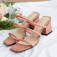 Stylesowner Sexy Summer Strap Chunky Heels Sandals Thin Strap Mules Shoes Genuine Suede Leather Top Quality