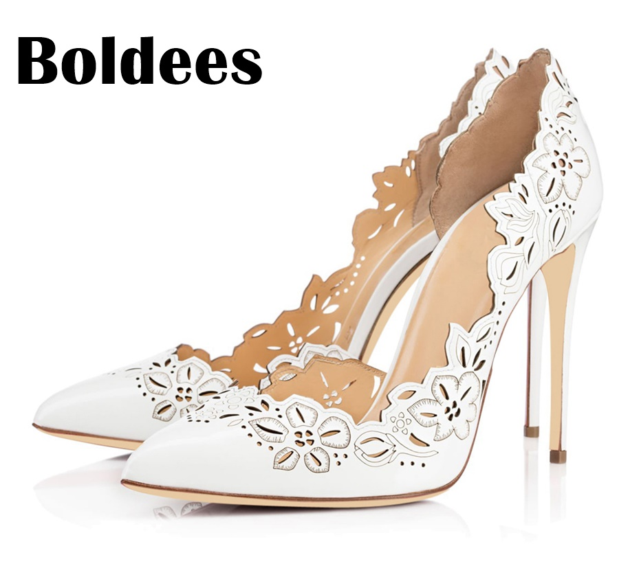 Boldee Fashion Women Pumps Women Shoes High Heels Cut Outs Shoes Summer Pointed Toe Sapato Femininos Plus size 43 gdgydh hot sales 2017 summer women sandals round toe cut outs shallow mouth female square high heels summer shoes plus size 43