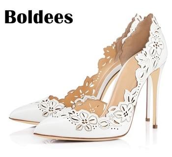 Boldee Fashion Women Pumps Women Shoes High Heels Cut Outs Shoes Summer Pointed Toe Sapato Femininos Plus size 43