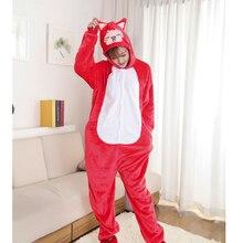 2017 Nuevos Adultos Red Fox Unisex Franela Con Capucha Pijamas Traje Cosplay Animal Bodies Pijamas Para Mujeres de Los Hombres Adultos, de Alta calidad
