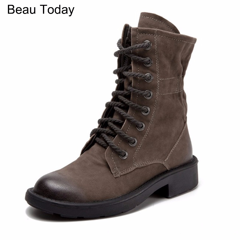 Beau Today Female Cow Full Genuine leather with woman Khaki Rubber Boots Med Heel Height Square Riding Normal Size Solid Shoes rubber cement euro winter shoes woman sleeve side zip chains riding genuine leather boots women solid color cowhide flat with