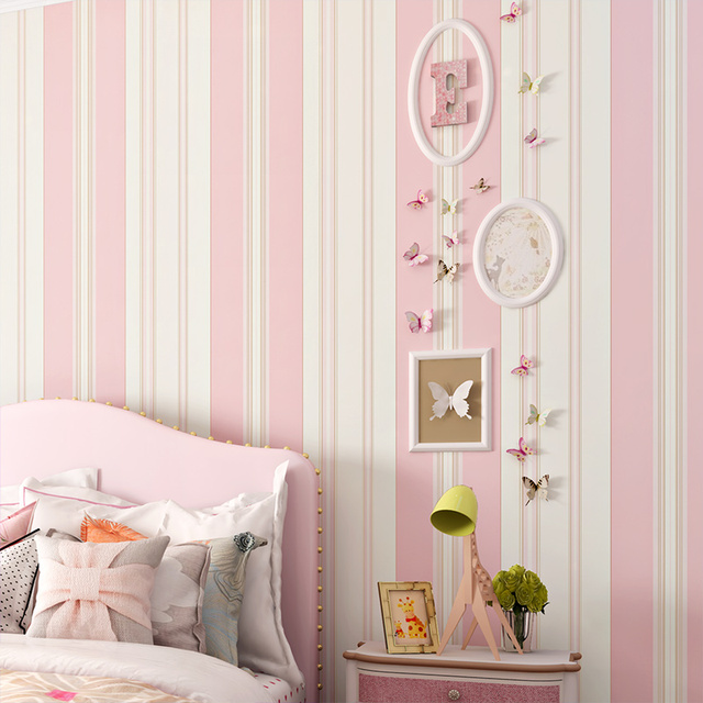 PAYSOTA Children Room Wallpaper Bedroom Romantic Pink Princess Environmental Non Woven Stripe Wall Paper