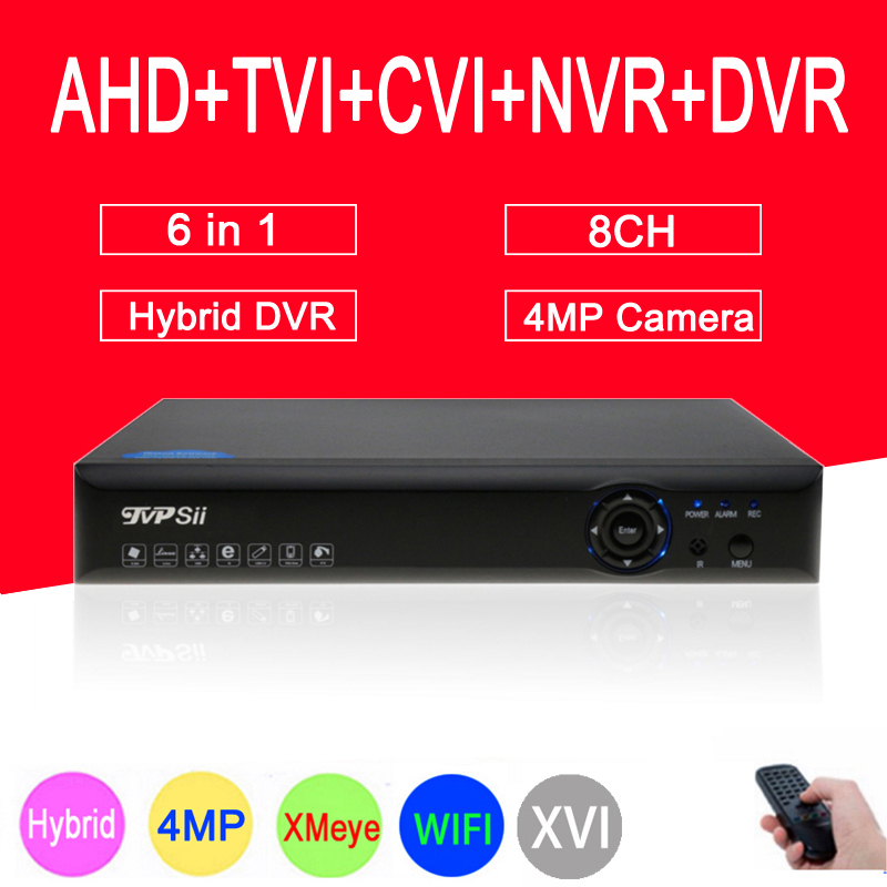 4MP Surveillance Camera Blue-Ray XMeye Hi3521A 8CH 8 Channel WIFI Hybrid Coaxial 6 in 1 TVI CVI NVR AHD CCTV DVR FreeShipping