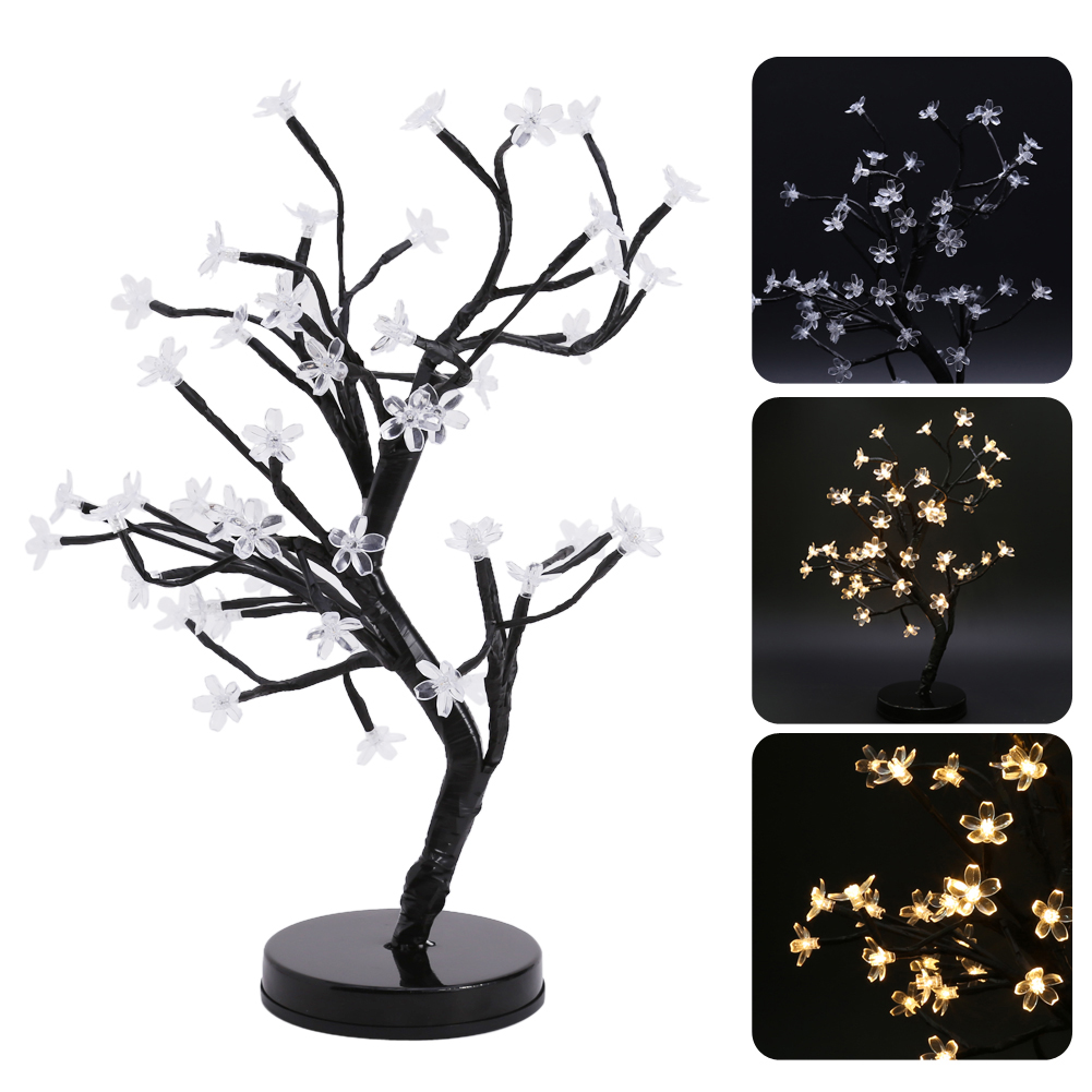 48 LED Cherry Blossom Bonsai Tree Fairy Twig Lights Table Floor Lamps Desk Light Home Room Night Light Garden Decoration стоимость