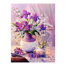 Purple Flower Vase Diamond Painting floral Round Full Drill 5D Nouveaute DIY Mosaic Embroidery Cross Stitch home decor gifts