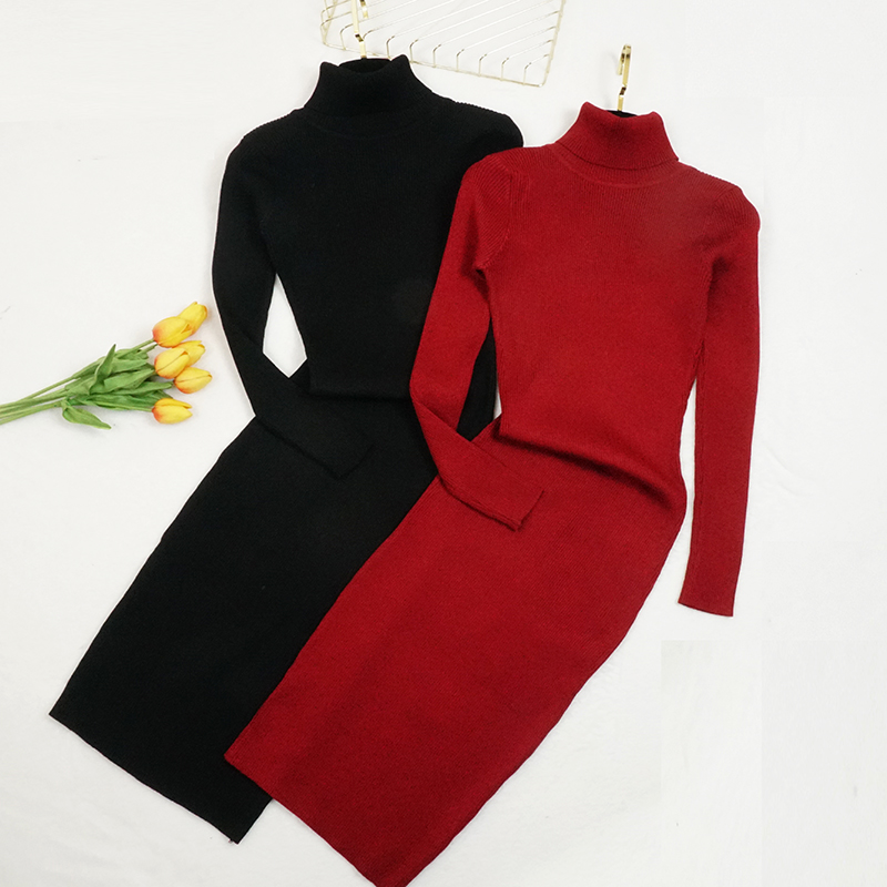 New Autumn Winter Women Knitted Dress Turtleneck Sweater Dresses Lady Slim Bodycon Long Sleeve Bottoming Dress Vestidos PP003 2
