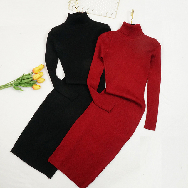 Новый осень-зима женское вязаное платье-свитер с высоким, плотно облегающим шею воротником платья леди тонкое облегающее платье с длинным рукавом, на пуговицах, для девочек платье Vestidos PP003 2