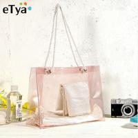 ETya модный, из ПВХ, прозрачный Экологичная многоразовая Для Покупок Сумка для Для женщин женская сумка летняя пляжная сумка-шоппер