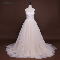 Sexy V Neck Soft Tulle Beach Wedding Dresses Long Chapel Train Spaghetti Straps A Line Bridal